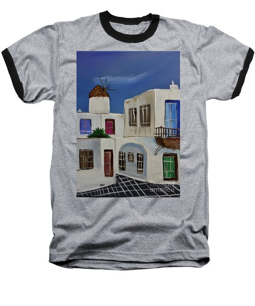Baseball T-Shirt featuring the painting Greek Village by Janice Rae Pariza
