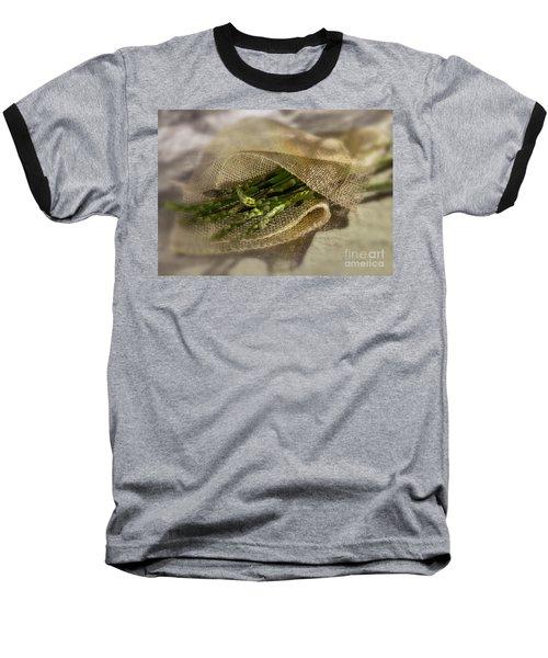 Green Asparagus On Burlab Baseball T-Shirt by Iris Richardson
