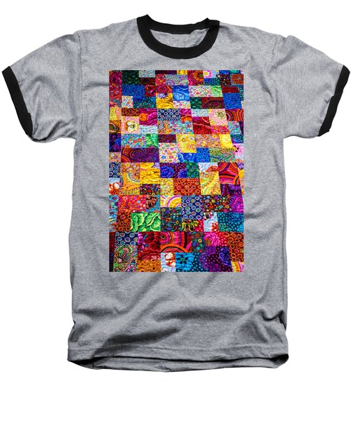 Hand Made Quilt Baseball T-Shirt by Sherman Perry
