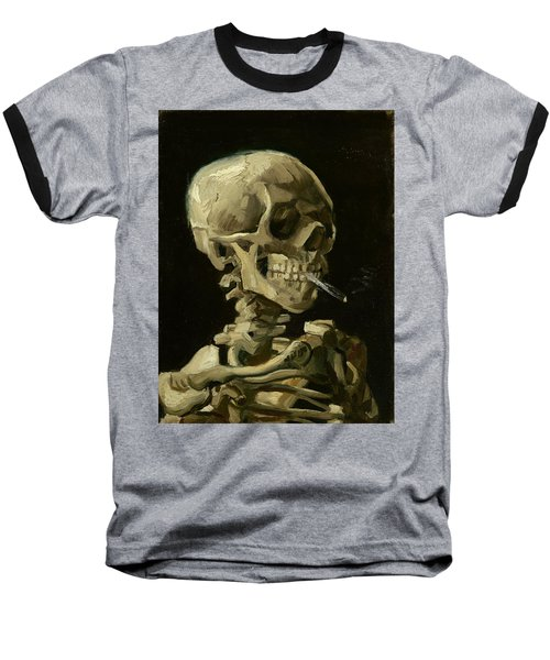 Head Of A Skeleton With A Burning Cigarette Baseball T-Shirt