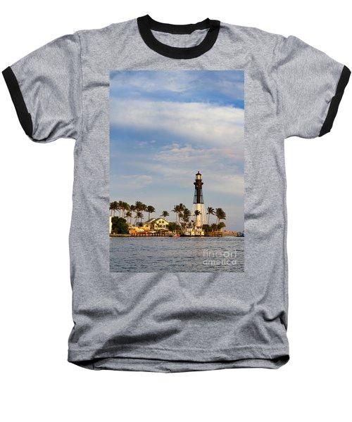Hillsboro Inlet Lighthouse Baseball T-Shirt by Les Palenik