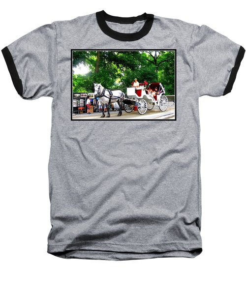 Horse And Carriage In Central Park Baseball T-Shirt