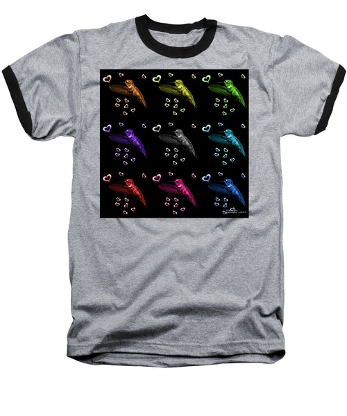 Baseball T-Shirt featuring the digital art Hummingbird Pop Art - 2055 F M - Bb by James Ahn