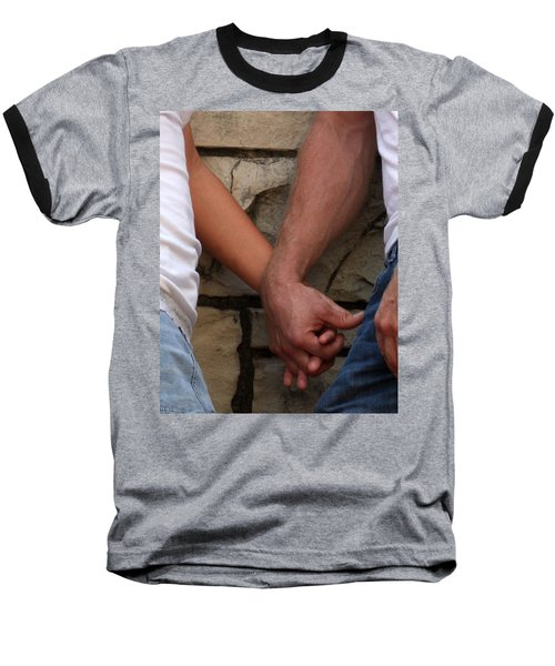 Baseball T-Shirt featuring the photograph I Wanna Hold Your Hand by Lesa Fine