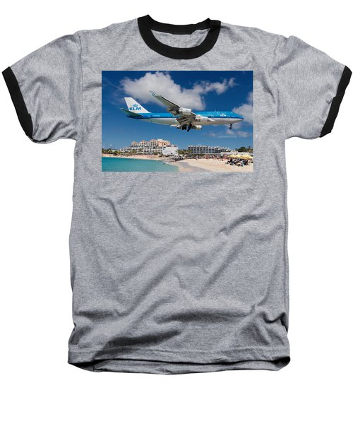 K L M Landing At St. Maarten Baseball T-Shirt by David Gleeson