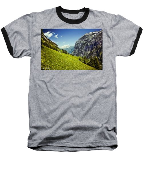 Baseball T-Shirt featuring the photograph Lauterbrunnen Valley In Bloom by Jeff Goulden