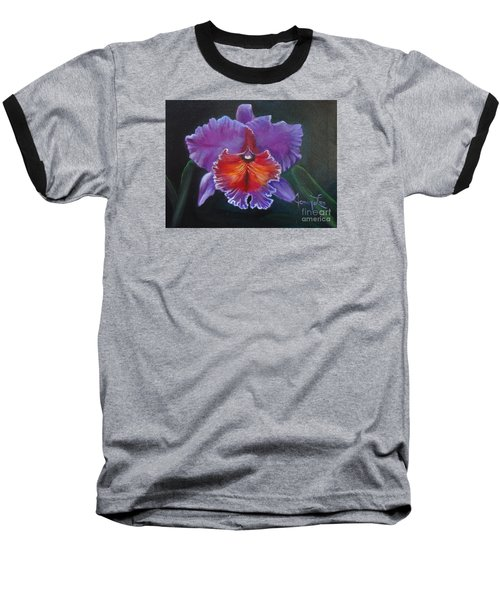 Baseball T-Shirt featuring the painting Lavender Orchid by Jenny Lee