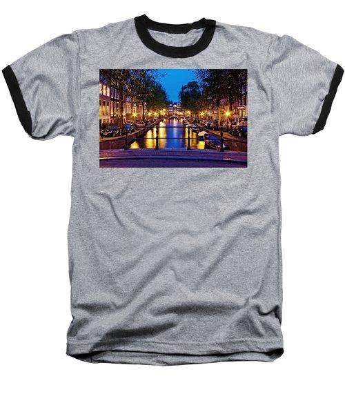 Leidsegracht Canal At Night / Amsterdam Baseball T-Shirt