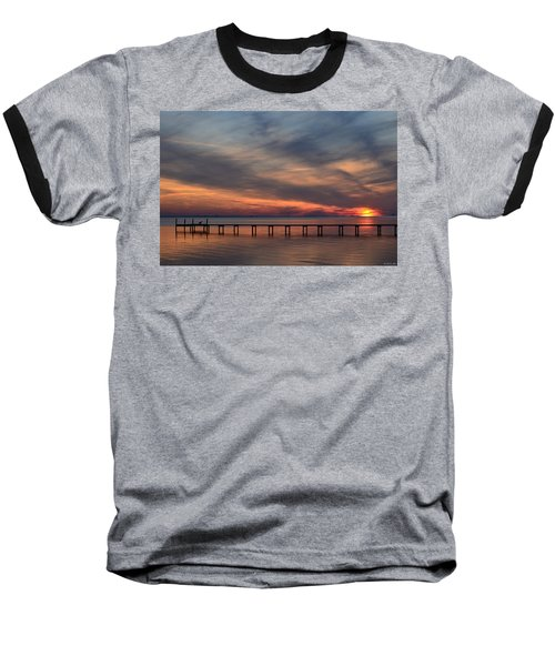 Baseball T-Shirt featuring the photograph Mirrored Sunset Colors On Santa Rosa Sound by Jeff at JSJ Photography