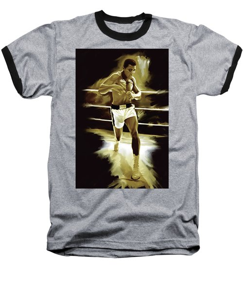 Muhammad Ali Boxing Artwork Baseball T-Shirt