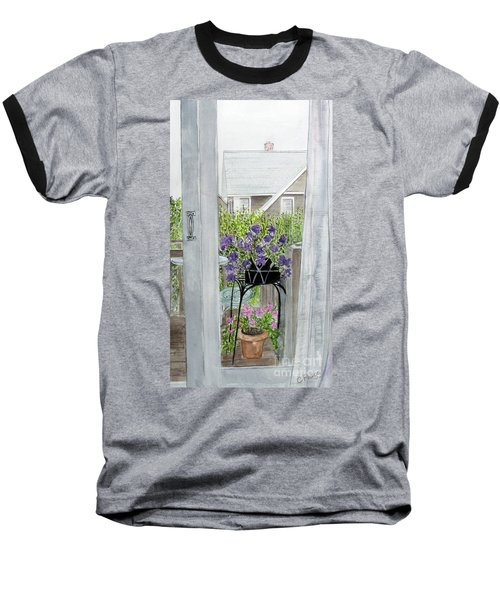 Baseball T-Shirt featuring the painting Nantucket Room View by Carol Flagg
