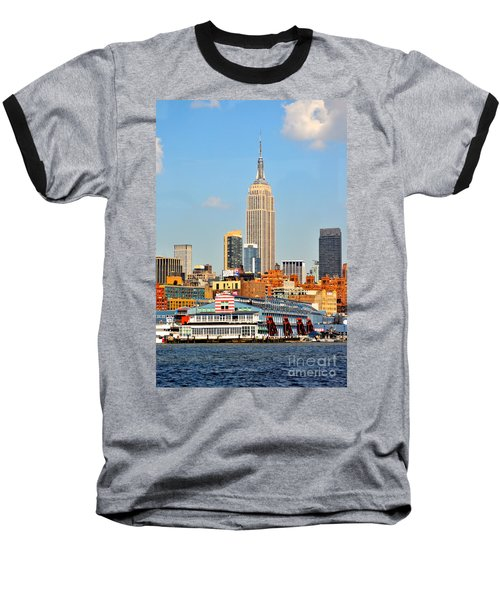 New York City Skyline With Empire State Baseball T-Shirt