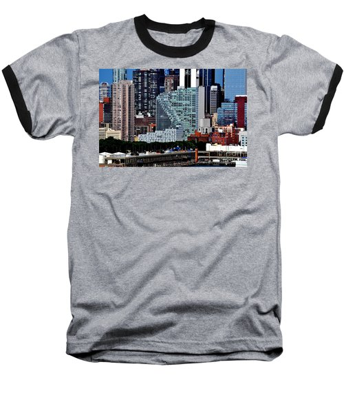 New York City Skyline With Mercedes House Baseball T-Shirt