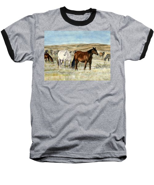 Baseball T-Shirt featuring the painting Nine Horses by Melly Terpening