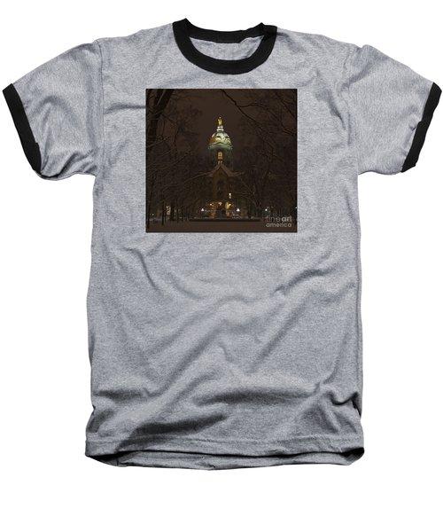 Notre Dame Golden Dome Snow Baseball T-Shirt by John Stephens