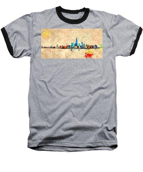Nyc Grunge Baseball T-Shirt by Daniel Janda