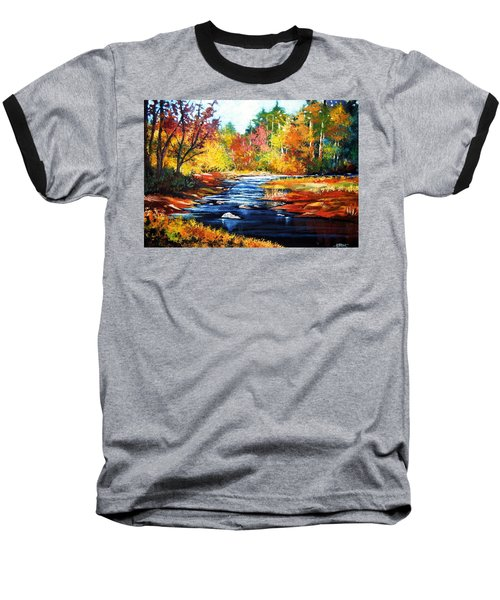 Baseball T-Shirt featuring the painting October Bliss by Al Brown