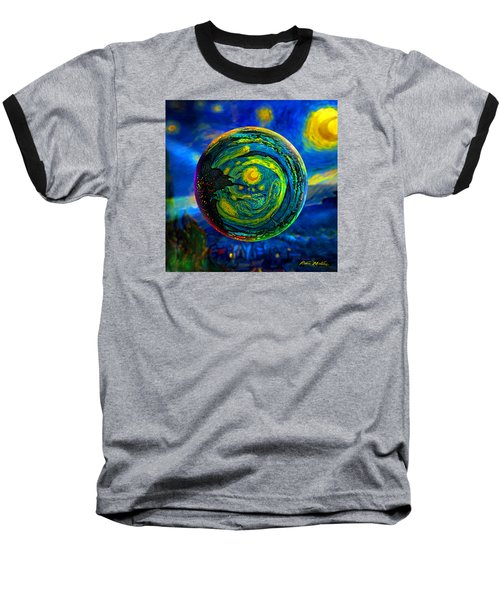 Orbiting A Starry Night  Baseball T-Shirt by Robin Moline