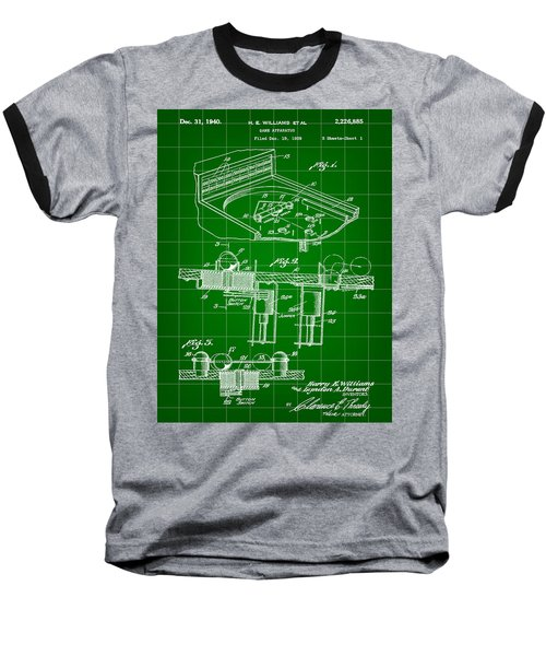 Pinball Machine Patent 1939 - Green Baseball T-Shirt