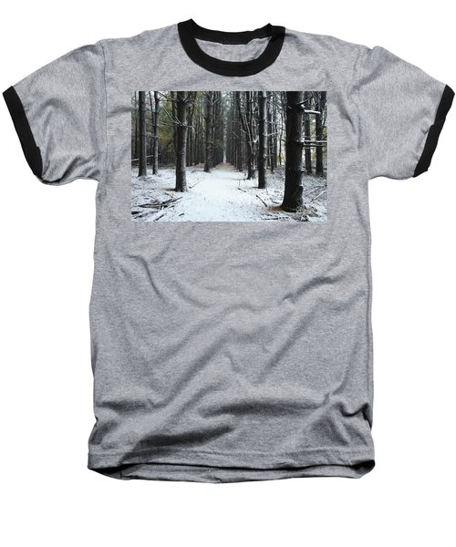 Pines In Snow Baseball T-Shirt