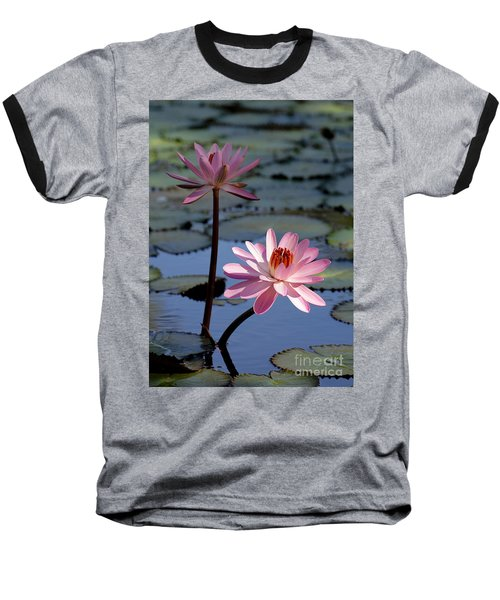 Pink Water Lily In The Spotlight Baseball T-Shirt