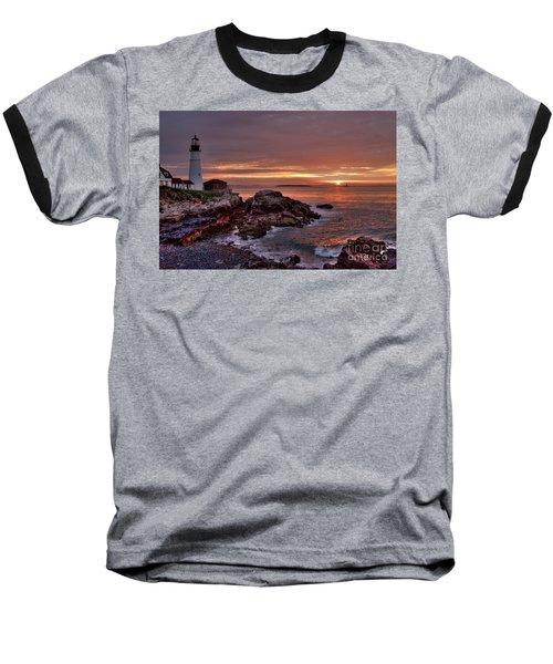 Baseball T-Shirt featuring the photograph Portland Head Lighthouse Sunrise by Alana Ranney