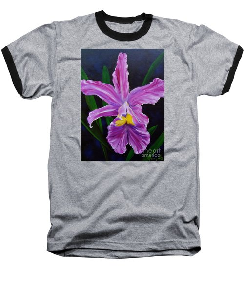 Baseball T-Shirt featuring the painting Purple Orchid by Jenny Lee