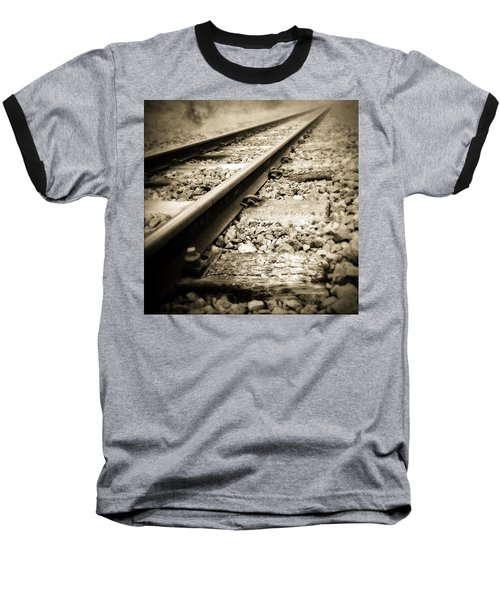 Railway Tracks Baseball T-Shirt by Les Cunliffe