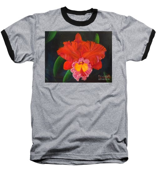 Baseball T-Shirt featuring the painting Red Orchid by Jenny Lee