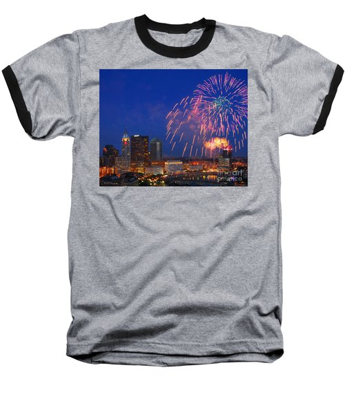 D21l-10 Red White And Boom Fireworks Display In Columbus Ohio Baseball T-Shirt