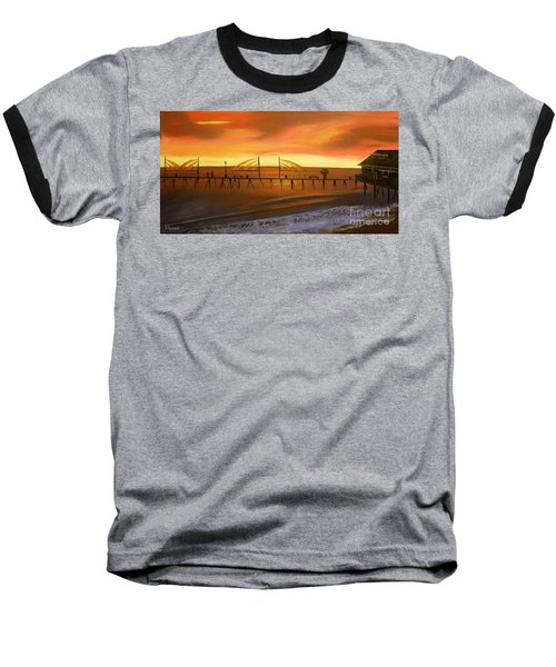 Redondo Beach Pier At Sunset Baseball T-Shirt