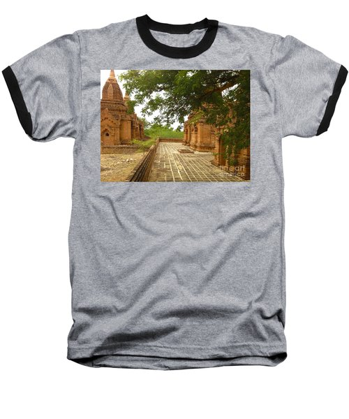 Baseball T-Shirt featuring the photograph Smaller Temples Next To Dhammayazika Pagoda Built In 1196 By King Narapatisithu Bagan Burma by Ralph A  Ledergerber-Photography