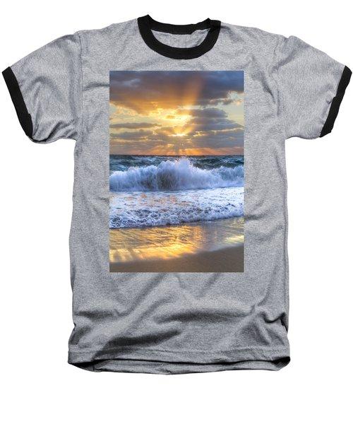 Splash Sunrise Baseball T-Shirt by Debra and Dave Vanderlaan