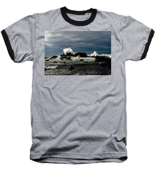 Stormy Seas And Spray Under Dark Skies  Baseball T-Shirt