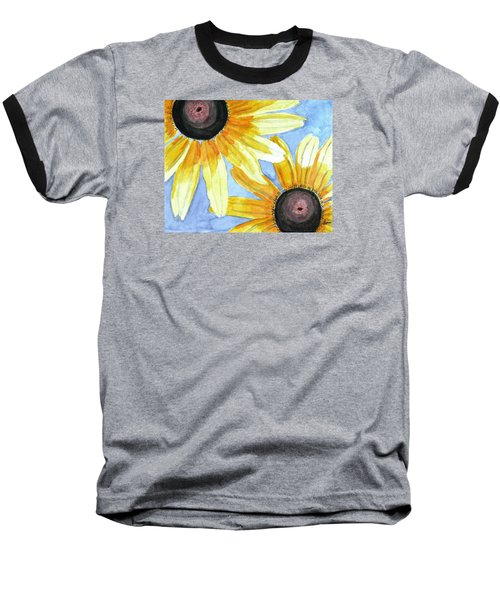 Baseball T-Shirt featuring the painting Summer Susans by Angela Davies
