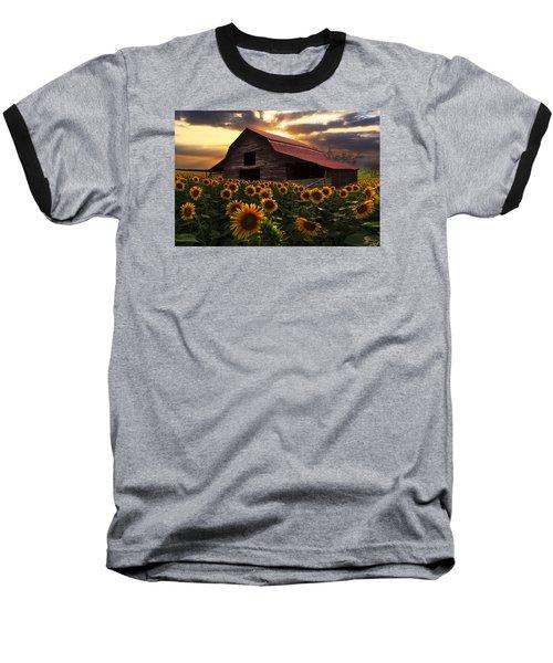 Sunflower Farm Baseball T-Shirt by Debra and Dave Vanderlaan