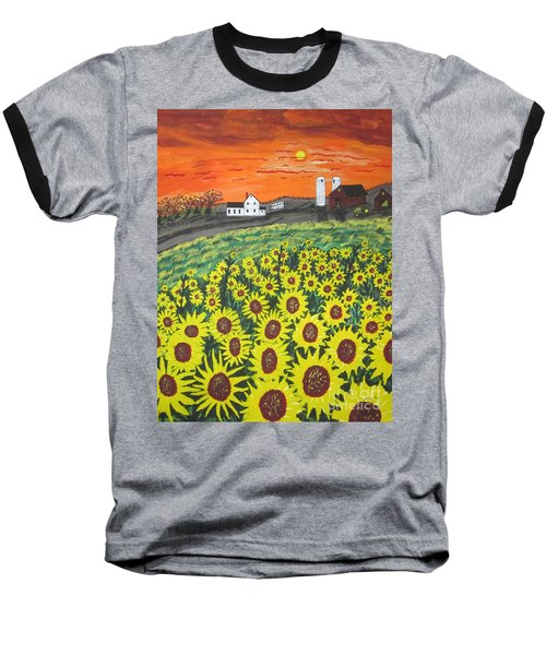Sunflower Valley Farm Baseball T-Shirt by Jeffrey Koss