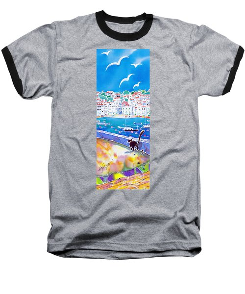 Baseball T-Shirt featuring the painting Sunset In Costa Brava by Hisayo Ohta
