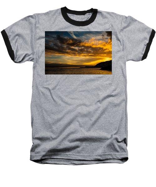 Sunset Over The Ocean  Baseball T-Shirt