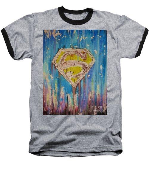Superman's Shield Baseball T-Shirt by Justin Moore