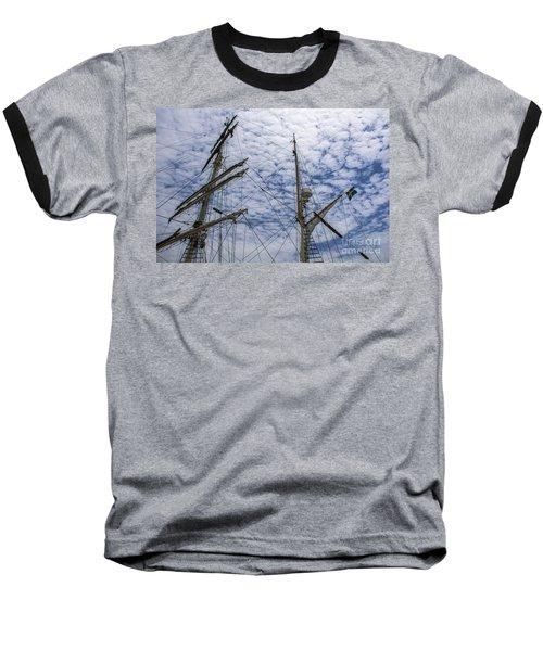 Tall Ship Mast Baseball T-Shirt by Dale Powell