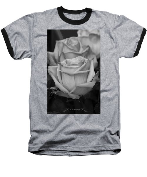 Tea Roses In Black And White Baseball T-Shirt