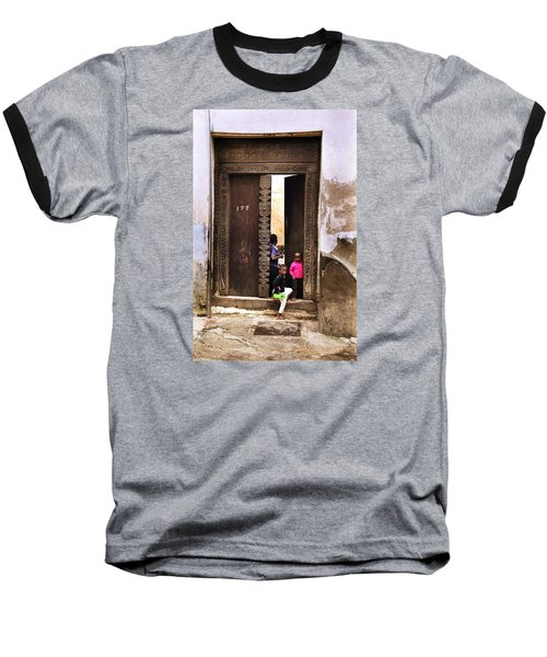 Baseball T-Shirt featuring the photograph Kids Playing Zanzibar Unguja Doorway by Amyn Nasser
