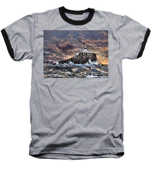 Baseball T-Shirt featuring the painting Tillamook Rock Light by Lynne Wright