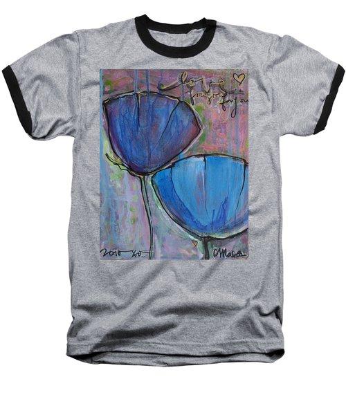 Two Blue Poppies Baseball T-Shirt