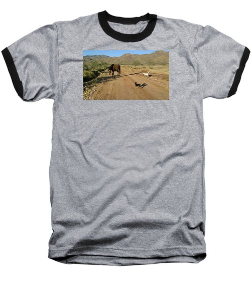 Three Friends On The Range Baseball T-Shirt
