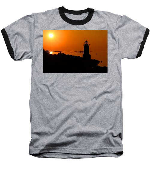 Winter Island Lighthouse Sunrise Baseball T-Shirt