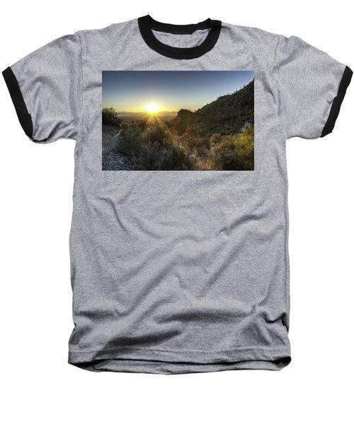Winter Sunset Baseball T-Shirt by Lynn Geoffroy