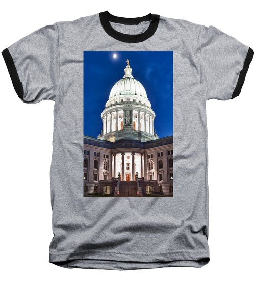 Wisconsin State Capitol Building At Night Baseball T-Shirt