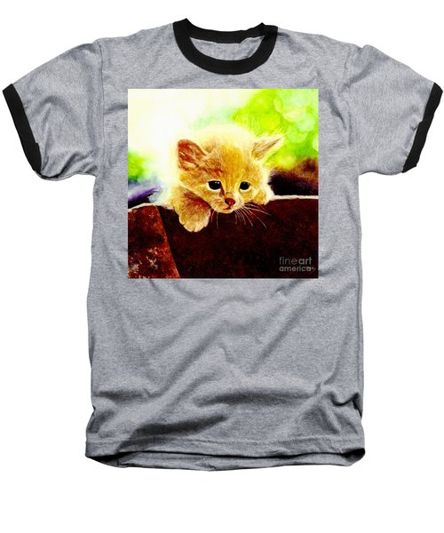 Yellow Kitten Baseball T-Shirt